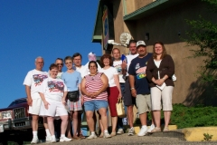 Group photo at our overnight stop in New Alum,MN. Mark and Teresa Negrete & Dave Brown would head for home as they only had the weekend off to travel with us and Ron & Nancy Maurer would join up here.