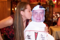 The waitress was getting acquainted with Ray. Do we have fun!
