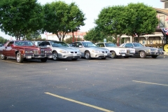 Intial group of cars for cruise at Pontiac, IL, More joined along the way